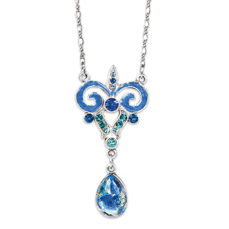 Blue Lady Art Nouveau Necklace | Anne Koplik Designs Jewelry | Handmade in America with Crystals from Swarovski®