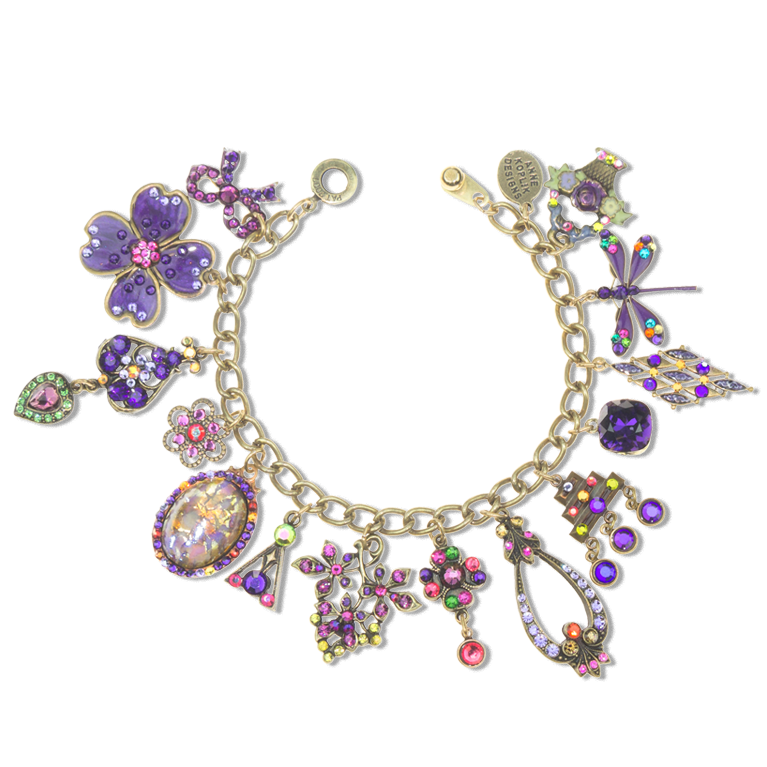 Bricolage Collection | Hand enameled and bejeweled with crystals from Swarovski® | One-of-a-Kind Charm Bracelet | Anne Koplik Designs