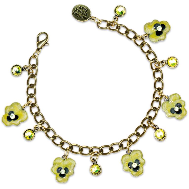 Kappa Alpha Theta Pansy Bracelet | Anne Koplik Designs Jewelry | Handmade in America with Crystals from Swarovski®