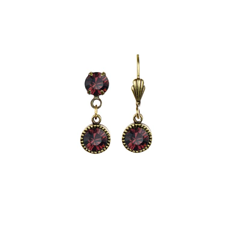 Swarovski® Bezel Set Brass Earrings Burgundy | Anne Koplik Designs Jewelry | Handmade in America with Crystals from Swarovski®