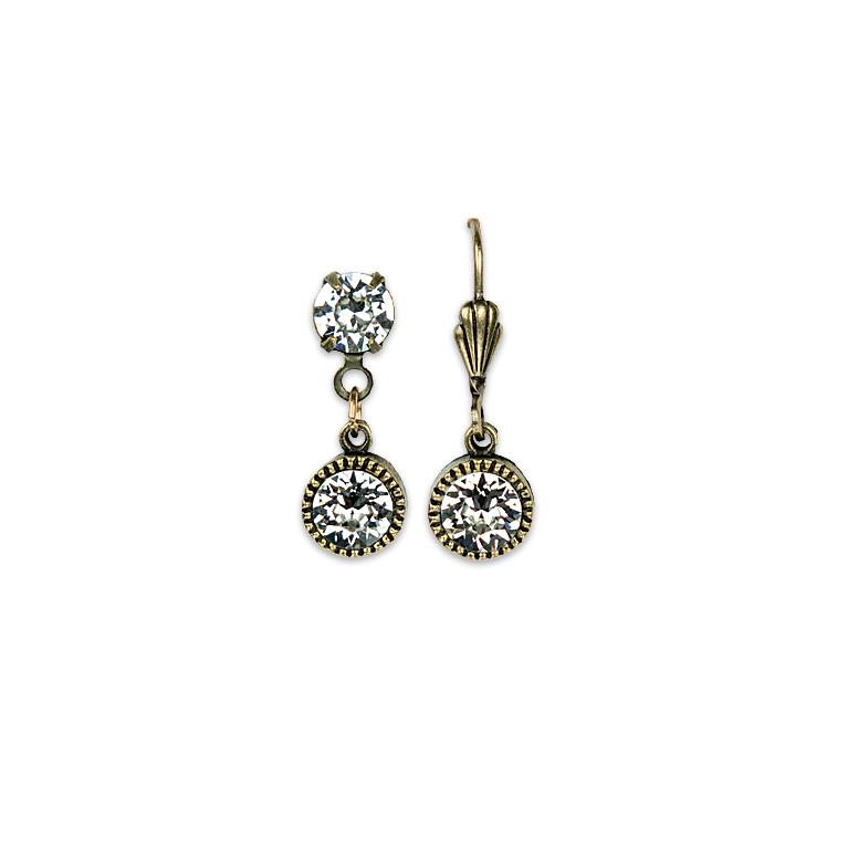 Swarovski® Bezel Set Brass Earrings Crystal | Anne Koplik Designs Jewelry | Handmade in America with Crystals from Swarovski®