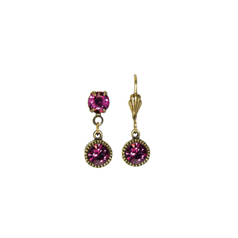 Swarovski® Bezel Set Brass Earrings Fuchsia | Anne Koplik Designs Jewelry | Handmade in America with Crystals from Swarovski®