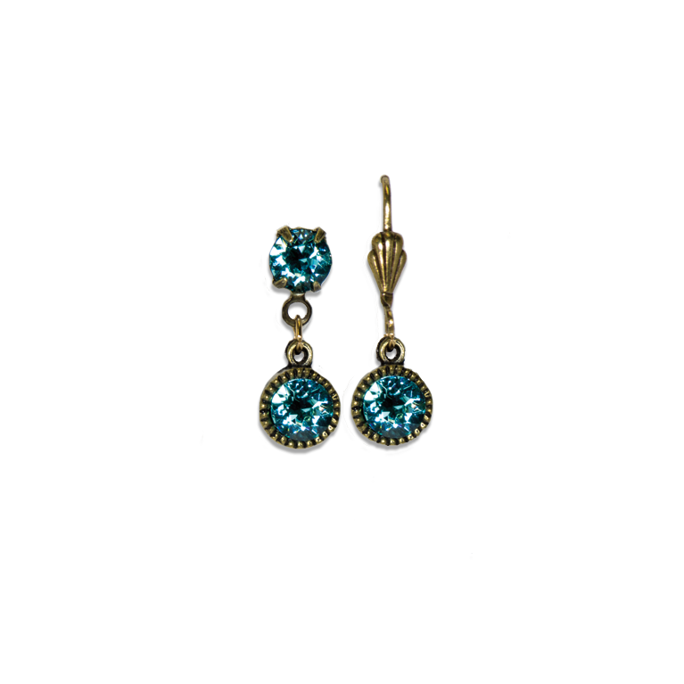 Swarovski® Bezel Set Brass Earrings Light Turquoise | Anne Koplik Designs Jewelry | Handmade in America with Crystals from Swarovski®