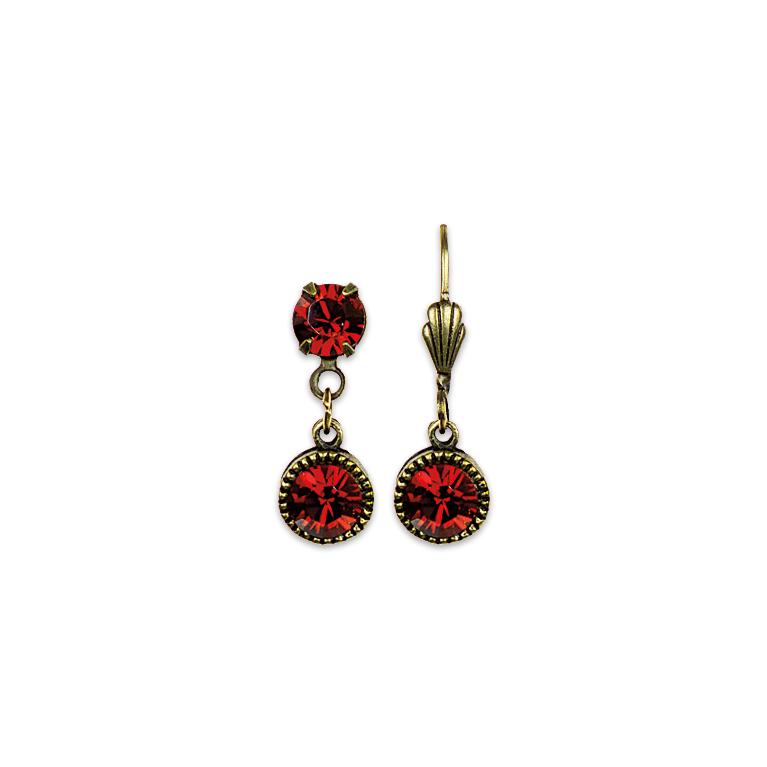 Swarovski® Bezel Set Brass Earrings Red | Anne Koplik Designs Jewelry | Handmade in America with Crystals from Swarovski®