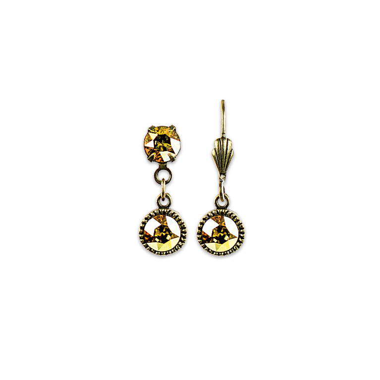 Swarovski® Bezel Set Brass Earrings Yellow | Anne Koplik Designs Jewelry | Handmade in America with Crystals from Swarovski®