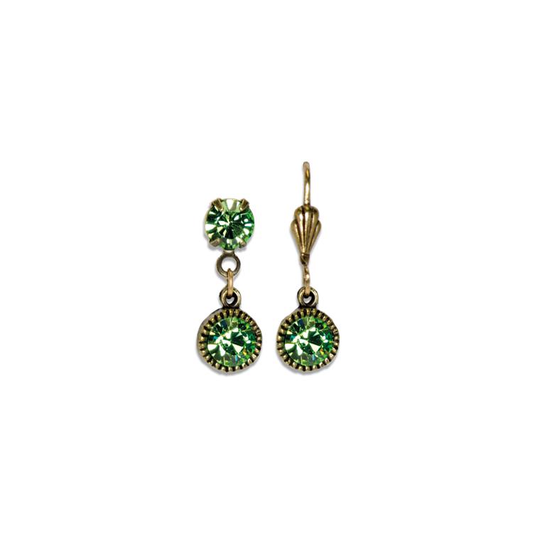 Swarovski® Bezel Set Brass Earrings Peridot | Anne Koplik Designs Jewelry | Handmade in America with Crystals from Swarovski®