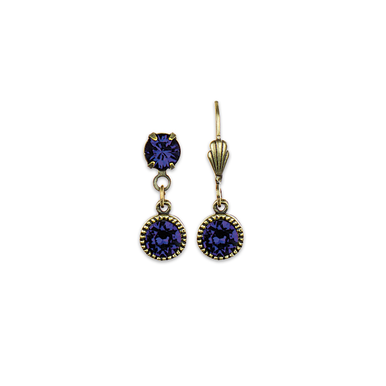 Swarovski® Bezel Set Brass Earrings Purple | Anne Koplik Designs Jewelry | Handmade in America with Crystals from Swarovski®