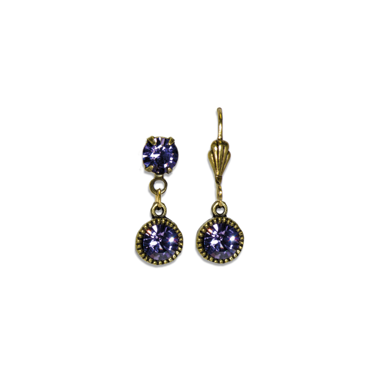 Swarovski® Bezel Set Brass Earrings Tanzanite | Anne Koplik Designs Jewelry | Handmade in America with Crystals from Swarovski®