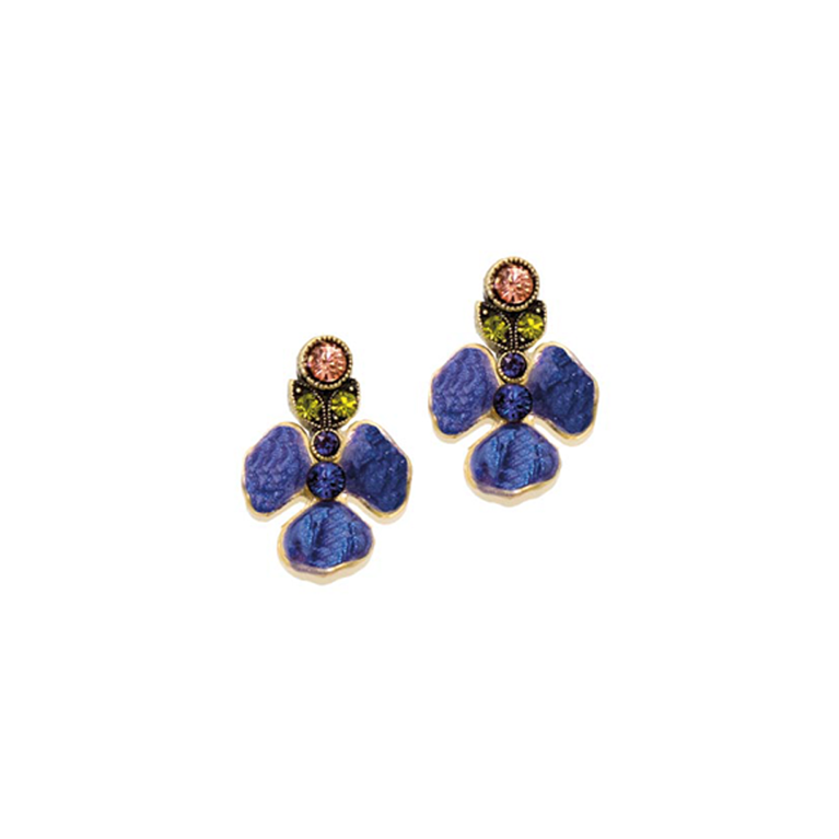 Royal Pansy Flower Earring | Anne Koplik Designs Jewelry | Handmade in America with Crystals from Swarovski®