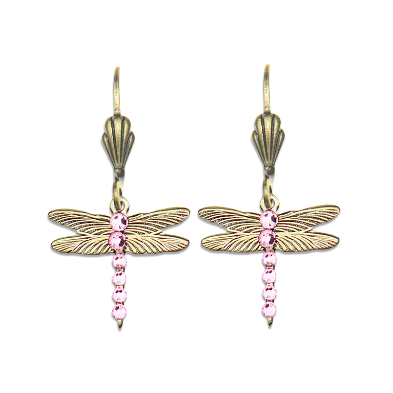 Pink Ribbon Dragonfly Earrings | Anne Koplik Designs Jewelry | Handmade in America with Crystals from Swarovski®