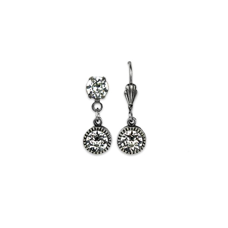 Swarovski® Bezel Set Silver Earrings Crystal | Anne Koplik Designs Jewelry | Handmade in America with Crystals from Swarovski®