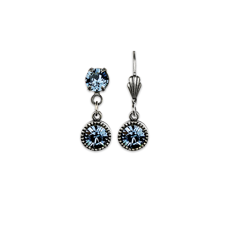Swarovski® Bezel Set Silver Earrings Blue | Anne Koplik Designs Jewelry | Handmade in America with Crystals from Swarovski®