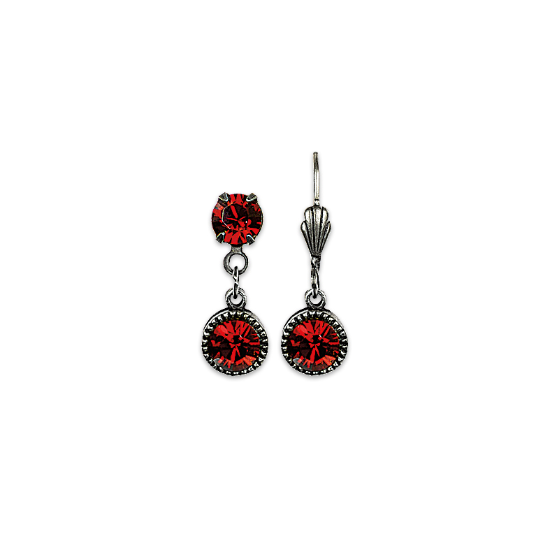 Swarovski® Bezel Set Silver Earrings Red | Anne Koplik Designs Jewelry | Handmade in America with Crystals from Swarovski®