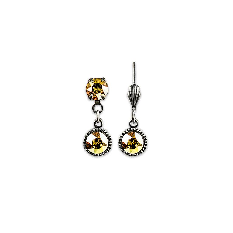 Swarovski® Bezel Set Silver Earrings Yellow | Anne Koplik Designs Jewelry | Handmade in America with Crystals from Swarovski®