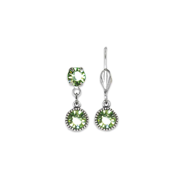 Swarovski® Bezel Set Silver Earrings Peridot | Anne Koplik Designs Jewelry | Handmade in America with Crystals from Swarovski®