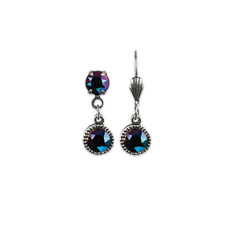 Swarovski® Bezel Set Silver Earrings Purple Green | Anne Koplik Designs Jewelry | Handmade in America with Crystals from Swarovski®
