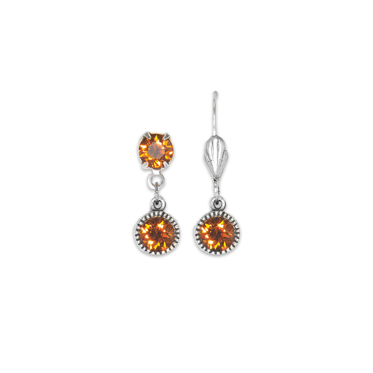Swarovski® Bezel Set Silver Earrings Tangerine | Anne Koplik Designs Jewelry | Handmade in America with Crystals from Swarovski®
