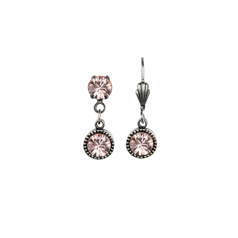 Swarovski® Bezel Set Silver Earrings Rose | Anne Koplik Designs Jewelry | Handmade in America with Crystals from Swarovski®