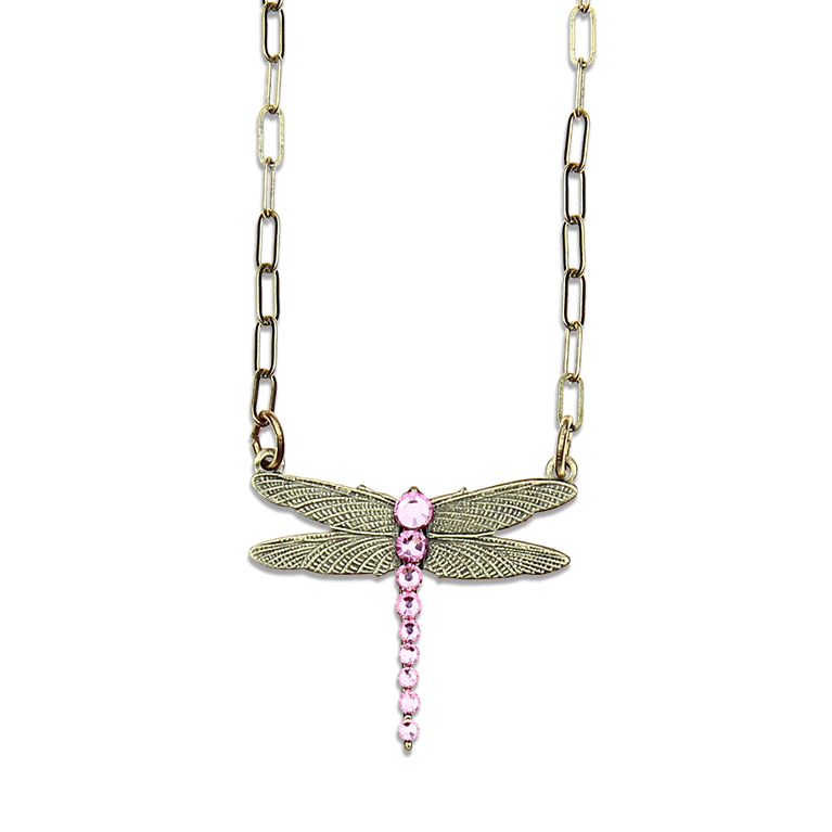 Pink Ribbon Dragonfly Pendant | Anne Koplik Designs Jewelry | Handmade in America with Crystals from Swarovski®