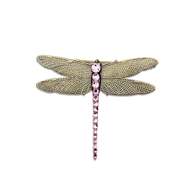 Pink Ribbon Dragonfly Brooch | Anne Koplik Designs Jewelry | Handmade in America with Crystals from Swarovski®
