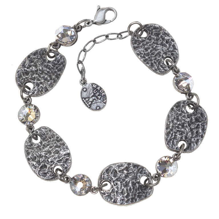 Hammered Plaque Bracelet | Anne Koplik Designs Jewelry | Handmade in America with Crystals from Swarovski®