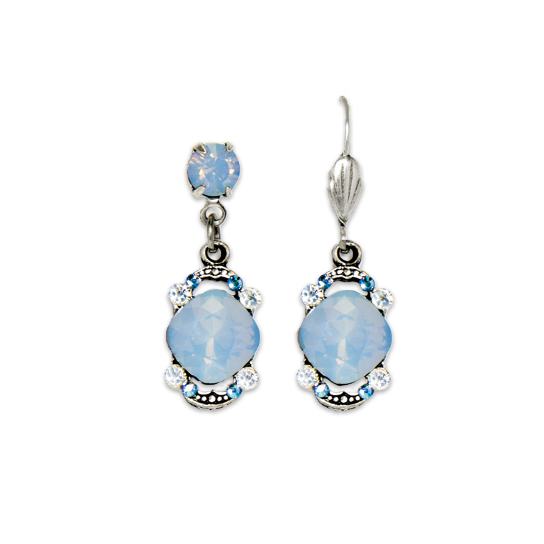 Air Blue Opal Cushion Earrings | Anne Koplik Designs Jewelry | Handmade in America with Crystals from Swarovski®