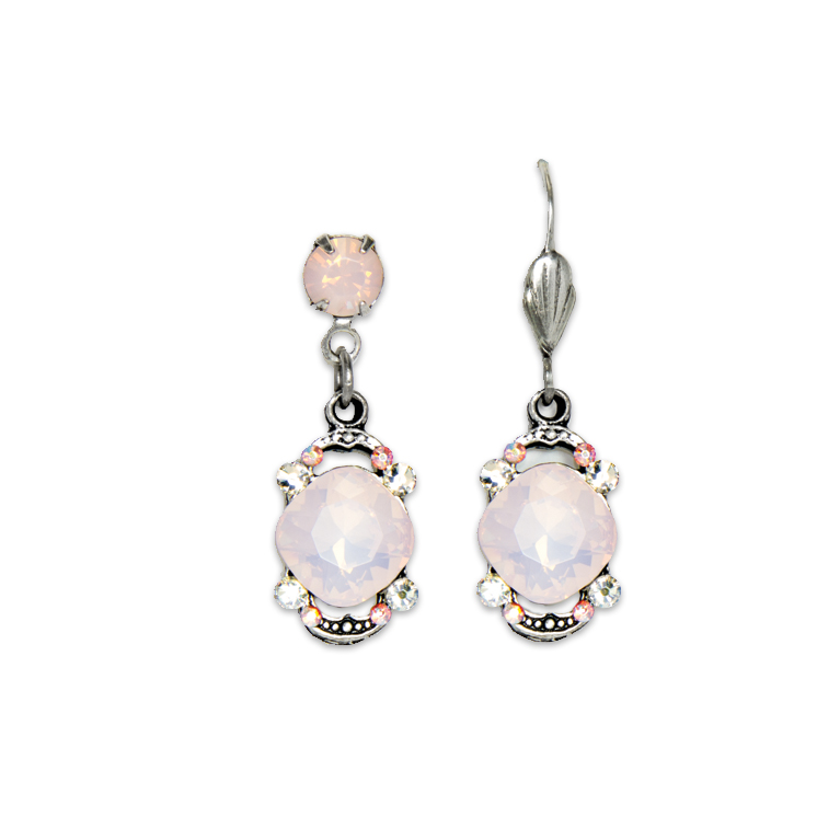 Rose Opal Cushion Earrings | Anne Koplik Designs Jewelry | Handmade in America with Crystals from Swarovski®