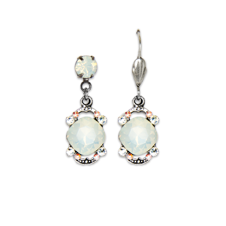 White Opal Cushion Earrings | Anne Koplik Designs Jewelry | Handmade in America with Crystals from Swarovski®