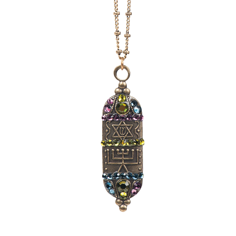 Mezuzah Multicolored Pendant | Anne Koplik Designs Jewelry | Handmade in America with Crystals from Swarovski®