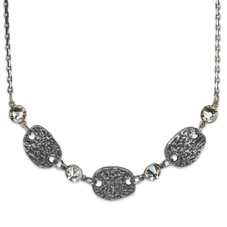 Hammered Plaque Necklace | Anne Koplik Designs Jewelry | Handmade in America with Crystals from Swarovski®