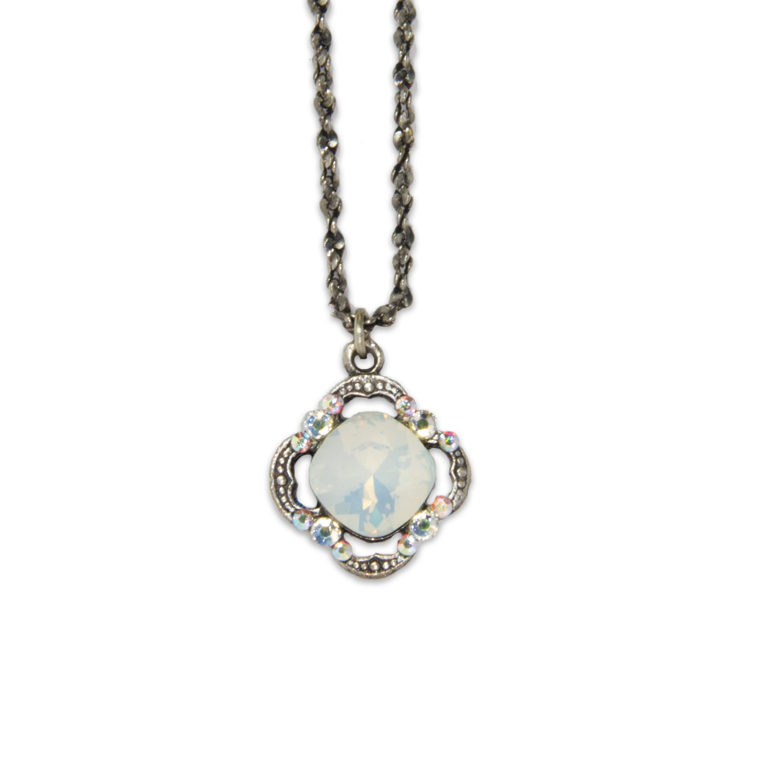 White Opal Cushion Pendant | Anne Koplik Designs Jewelry | Handmade in America with Crystals from Swarovski®