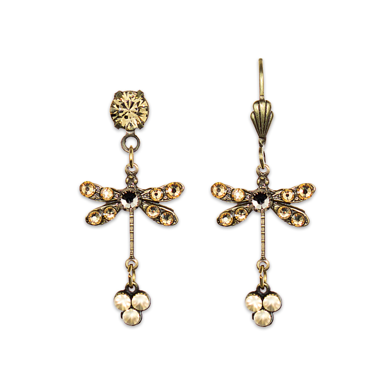 Golden Shadow Dragonfly Earrings | Anne Koplik Designs Jewelry | Handmade in America with Crystals from Swarovski®
