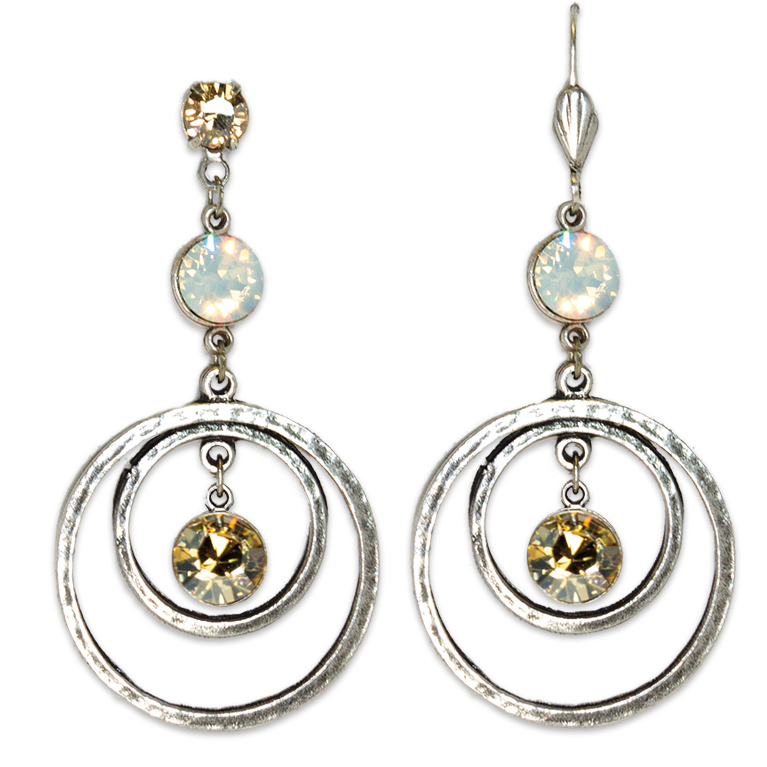 Golden Shadow & White Opal Circular Drop Earrings | Anne Koplik Designs Jewelry | Handmade in America with Crystals from Swarovski®