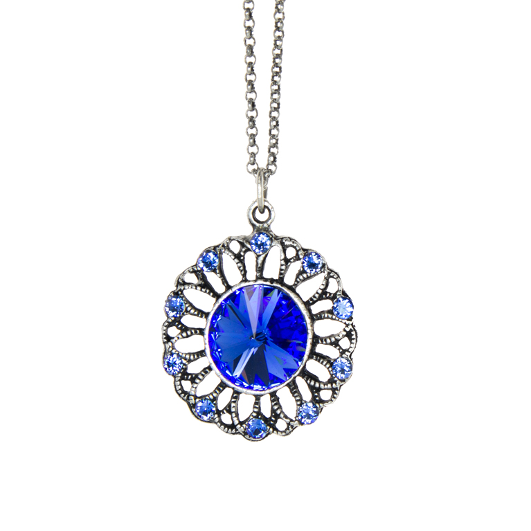 Blue Rivoli Burst Necklace | Anne Koplik Designs Jewelry | Handmade in America with Crystals from Swarovski®