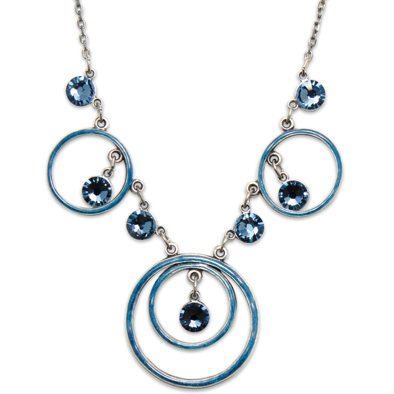 Denim Circle Necklace | Anne Koplik Designs Jewelry | Handmade in America with Crystals from Swarovski®