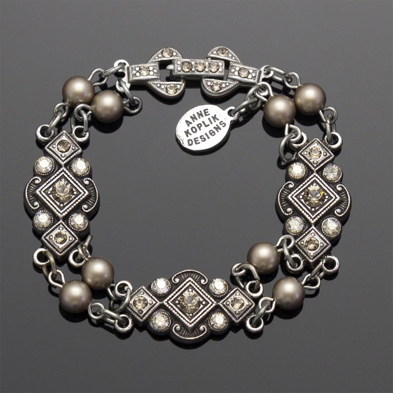 Art Deco Greige Pearl Bracelet | Anne Koplik Designs Jewelry | Handmade in America with Crystals from Swarovski®