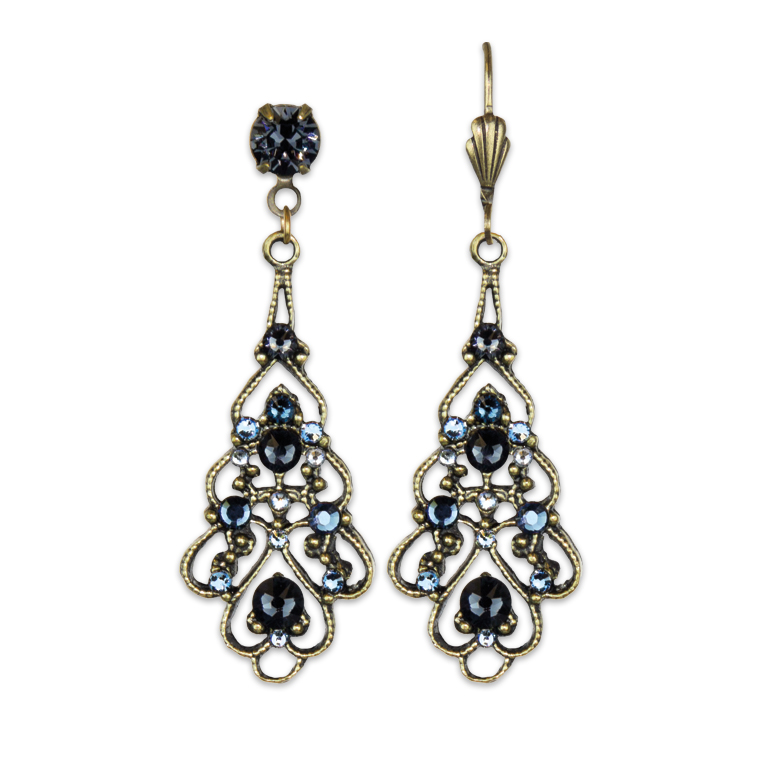 Valentina Blue Lace Earrings | Anne Koplik Designs Jewelry | Handmade in America with Crystals from Swarovski®