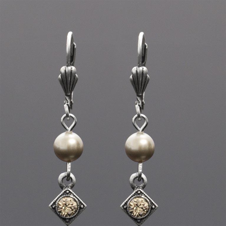Art Deco Greige Pearl Earrings | Anne Koplik Designs Jewelry | Handmade in America with Crystals from Swarovski®