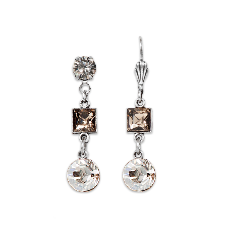 Greige And Silver Shadow Earrings | Anne Koplik Designs Jewelry | Handmade in America with Crystals from Swarovski®
