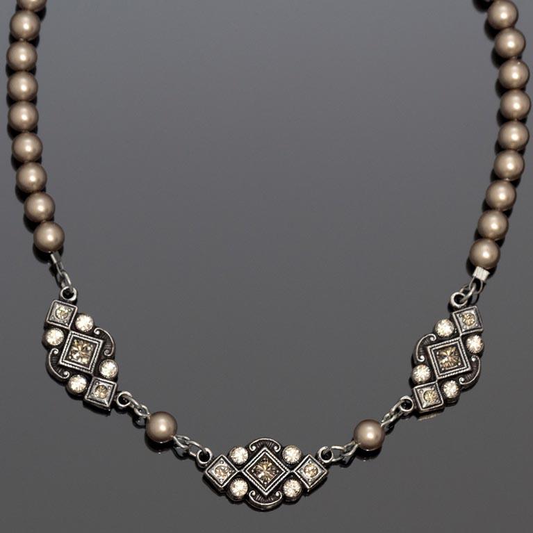 Art Deco Greige Pearl Necklace   Anne Koplik Designs Jewelry   Handmade in America with Crystals from Swarovski®