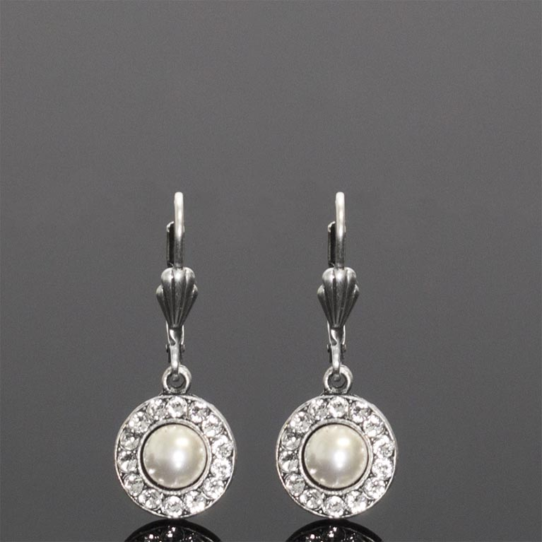 Subtly Spectacular Pearl and Crystal Earrings | Anne Koplik Designs Jewelry | Handmade in America with Crystals from Swarovski®