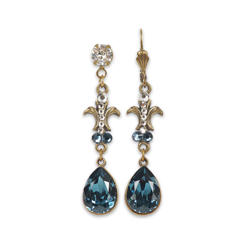 Blue Cora Earrings | Anne Koplik Designs Jewelry | Handmade in America with Crystals from Swarovski®