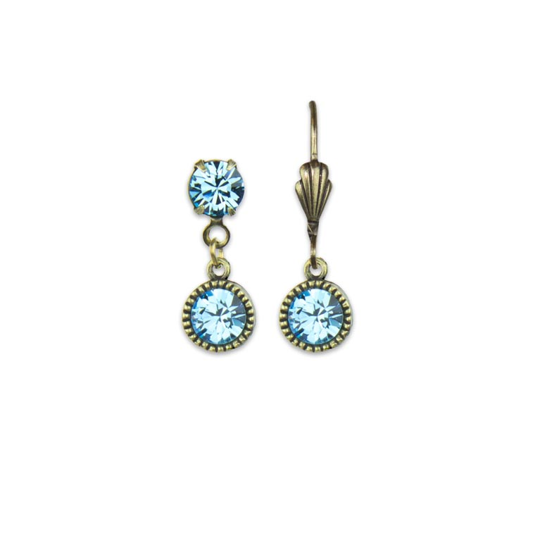 Swarovski® Bezel Set Brass Earrings Aquamarine | Anne Koplik Designs Jewelry | Handmade in America with Crystals from Swarovski®
