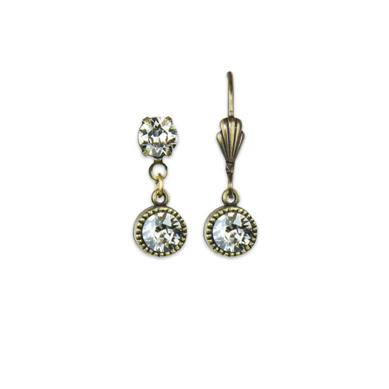 Swarovski® Bezel Set Brass Earrings Crystal Silver Shade| Anne Koplik Designs Jewelry | Handmade in America with Crystals from Swarovski®