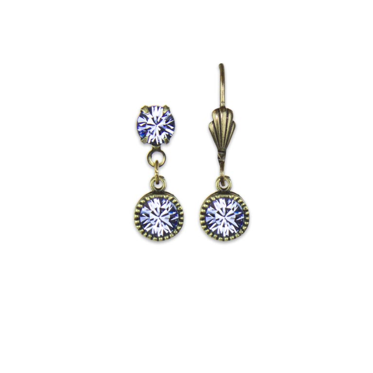 Swarovski® Bezel Set Brass Earrings Lavender | Anne Koplik Designs Jewelry | Handmade in America with Crystals from Swarovski®