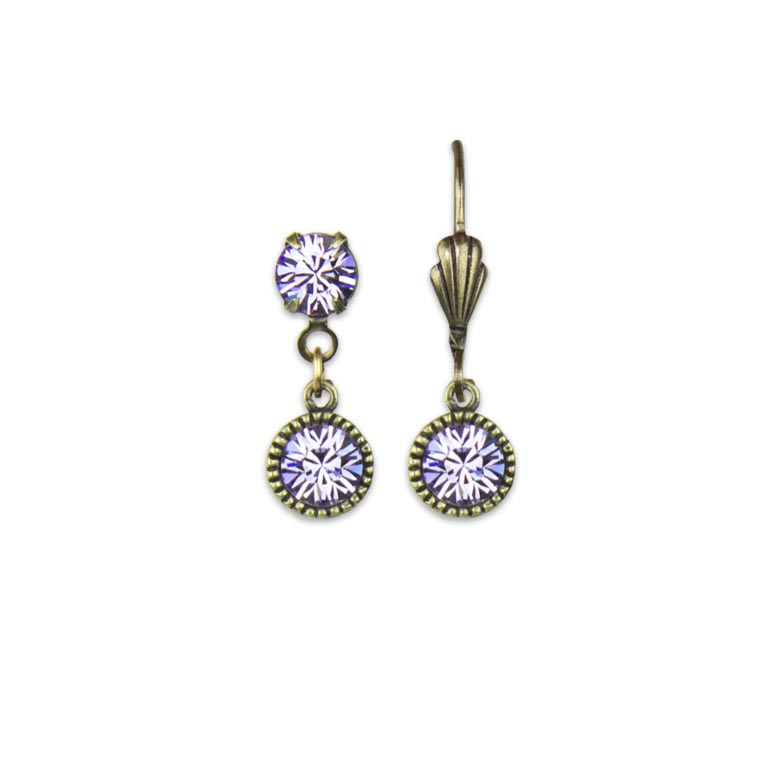 Swarovski® Bezel Set Brass Earrings Violet | Anne Koplik Designs Jewelry | Handmade in America with Crystals from Swarovski®