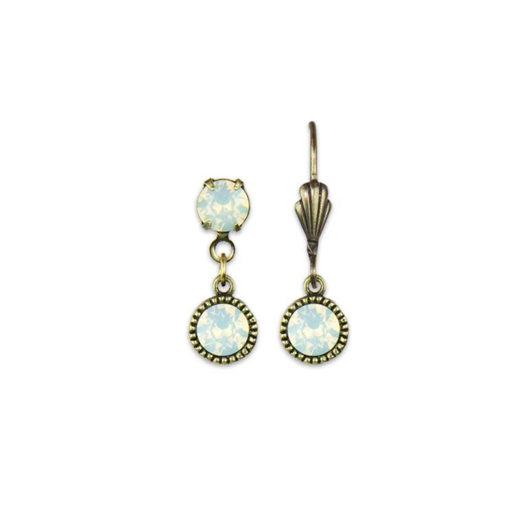 Swarovski® Bezel Set Brass Earrings White Opal | Anne Koplik Designs Jewelry | Handmade in America with Crystals from Swarovski®