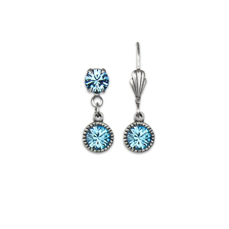 Swarovski® Bezel Set Silver Earrings Aquamarine | Anne Koplik Designs Jewelry | Handmade in America with Crystals from Swarovski®