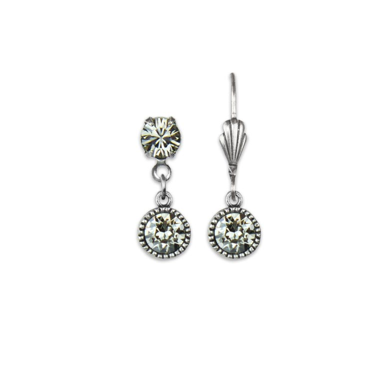 Swarovski® Bezel Set Silver Earrings Crystal Silver Shade| Anne Koplik Designs Jewelry | Handmade in America with Crystals from Swarovski®