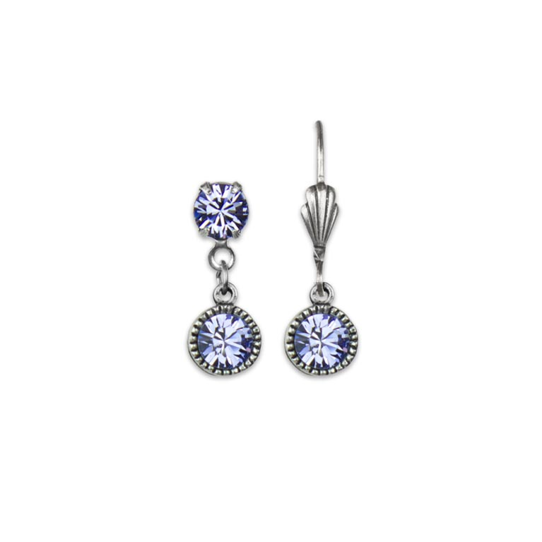 Swarovski® Bezel Set Silver Earrings Lavender | Anne Koplik Designs Jewelry | Handmade in America with Crystals from Swarovski®